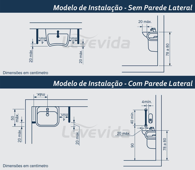 Modelo de instalacao barra de apoio lateral para lavatorio